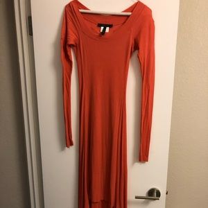 BCBG Cotton Orange/Pink Maxi Dress. Size XS
